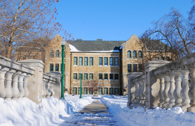 Mabee Hall after the Blizzard of 2011.