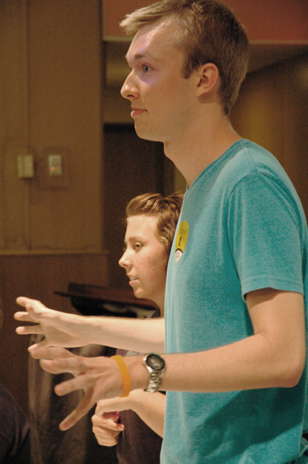 Swenson speaks at a Baker University Student Senate meeting earlier this year.