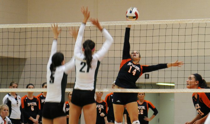Freshman Taryn Brees goes for a spike during the match against Central Methodist University Tuesday at Collins Center. The win brought the Wildcats' overall record to 13-10 and kept  BU undefeated in the HAAC.