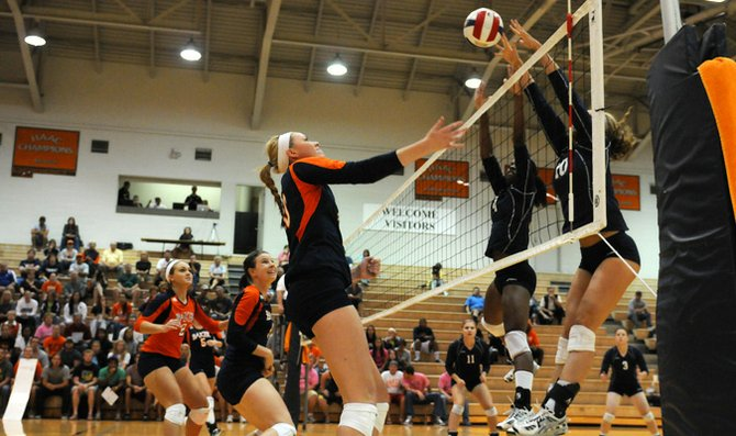 Senior Christina Delladio positions herself defensively against MidAmerica Nazarene University Oct. 18 in Collins Center. Delladio and the Wildcats improved to 23-10 overall and 8-0 in the Heart of America Athletic Conference. The win also gave Baker a share of the HAAC regular season championship.