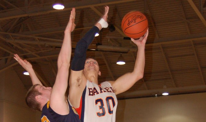 Senior Jack Shortell goes for a layup during Baker's game against Graceland University Saturday in Collins Center. The Wildcats lost to the Yellowjackets 70-62. Baker will play its final home game in the regular season at 4 p.m. Saturday in Collins Center.