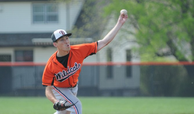 Senior Chris Cummins delivers a pitch in game one against Missouri Valley College Wednesday at Sauder Field. Cummins pitched a four-hit complete game shutout on the way to a 14-0 victory. The Wildcats completed the sweep in game two with a 6-1 win to improve to 5-3 in the Heart of America Athletic Conference.