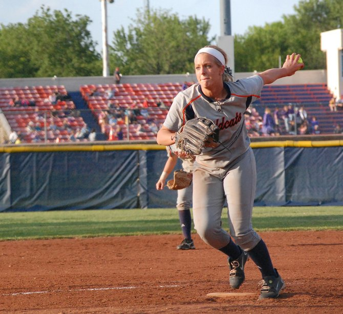 Sophomore Erin Greenwood throws a pitch during the senior night doubleheader.