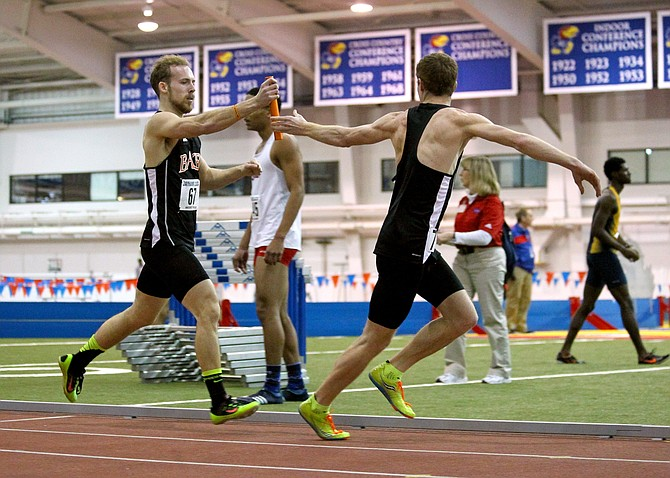 Senior Tyler Randall, left, was one of the five Baker athletes who qualified for the NAIA Indoor Track and Field National Championships.